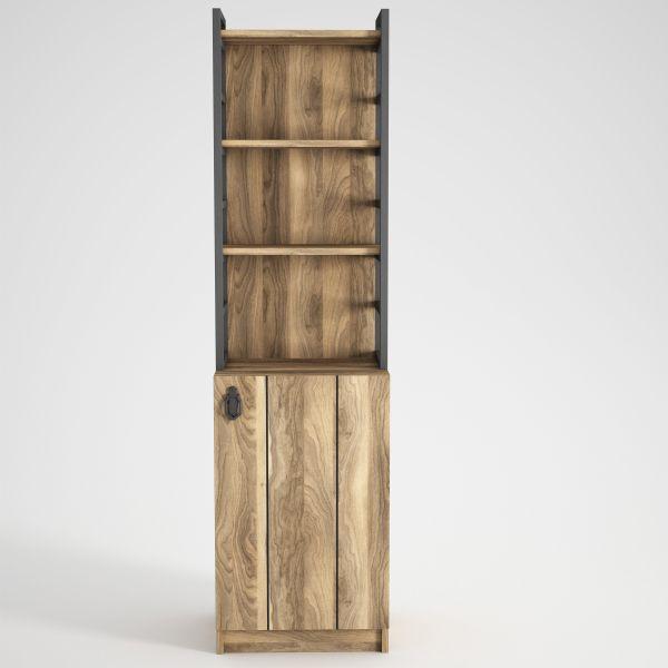 Bücherregal Lost mit Metallrahmen Walnuss