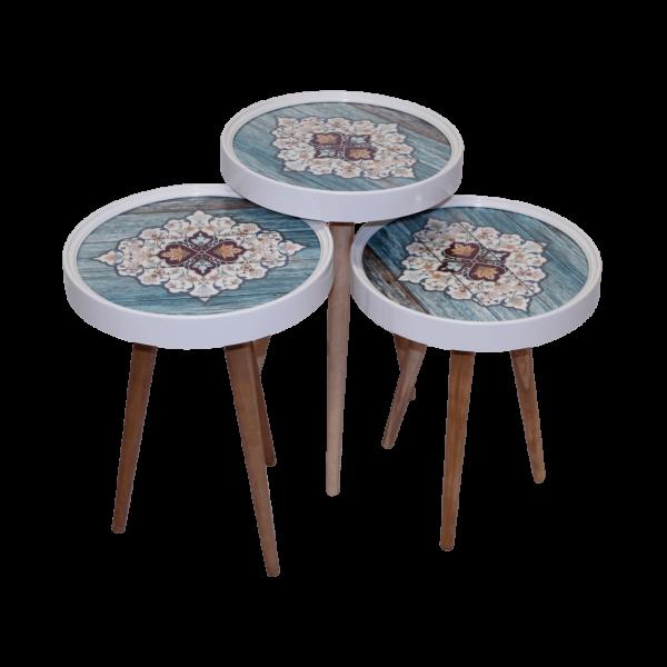Beistelltisch Keramik 3 er Set 3D mit Glas Rund Blau CM01