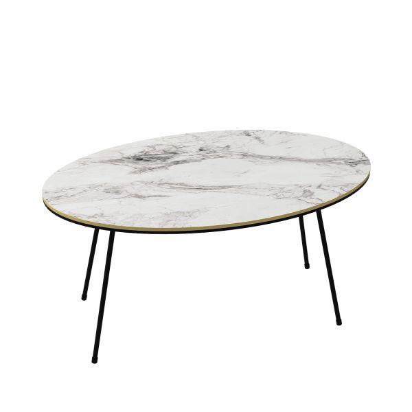 Couchtisch Marmor Optik Oval Weiß 22116955