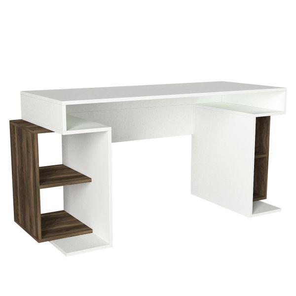 Schreibtisch Monument Weiß Walnuss