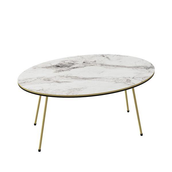 Couchtisch Marmor Optik Oval Weiß 21946962