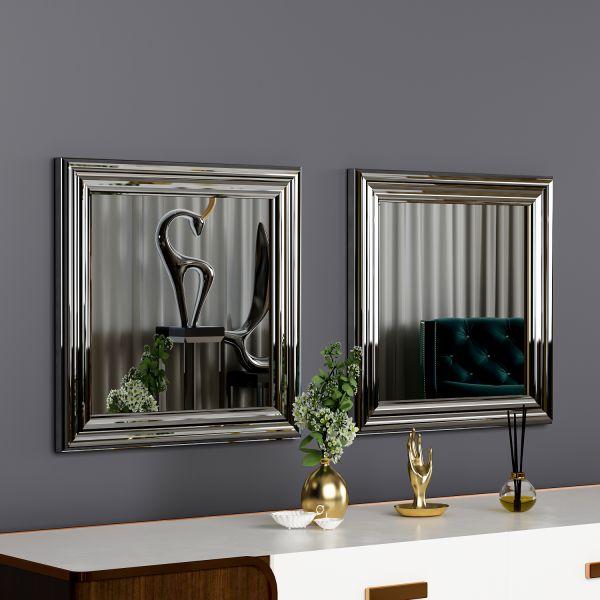 Spiegel Bale 2er 40x40cm Silber