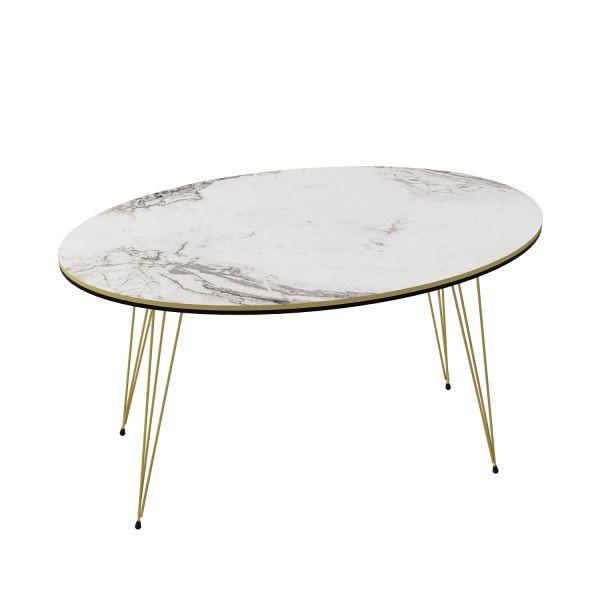 Couchtisch Marmor Optik Oval Weiß 21587006