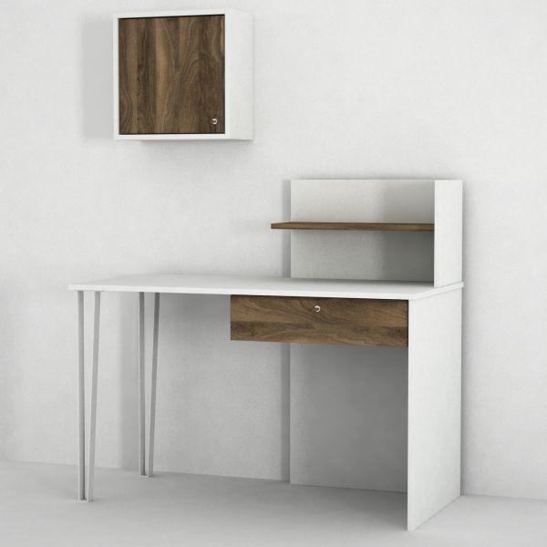 Schreibtisch Punto mit Metallfüße Weiß Walnuss