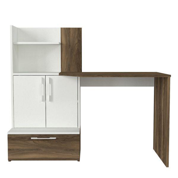 Schreibtisch Padora Walnuss Weiß