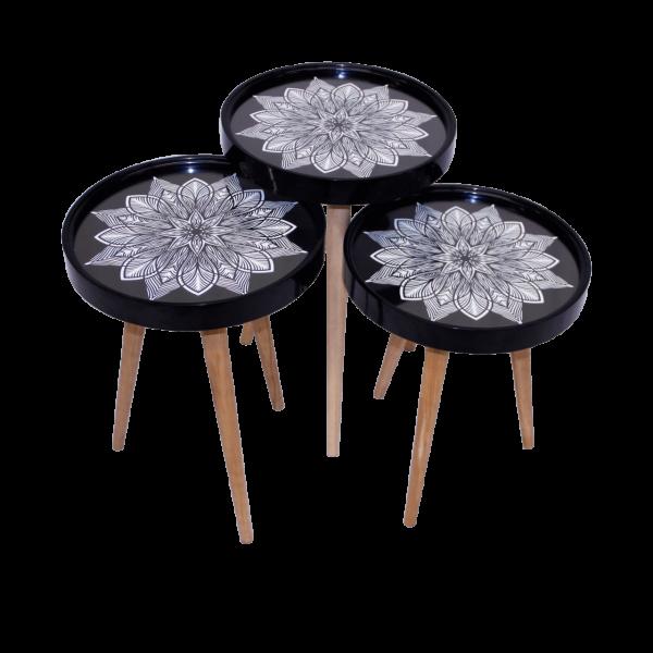 Beistelltisch Sternblumen 3 er Set 3D mit Glas Rund Schwarz