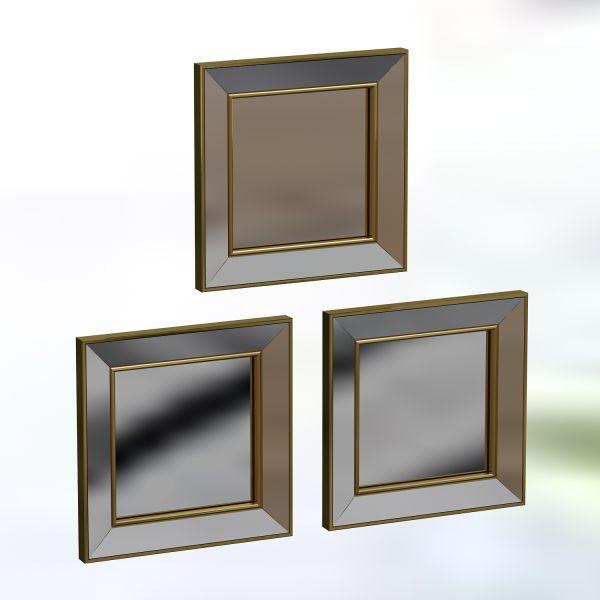 Spiegel Chill 3er 40x40cm Gold