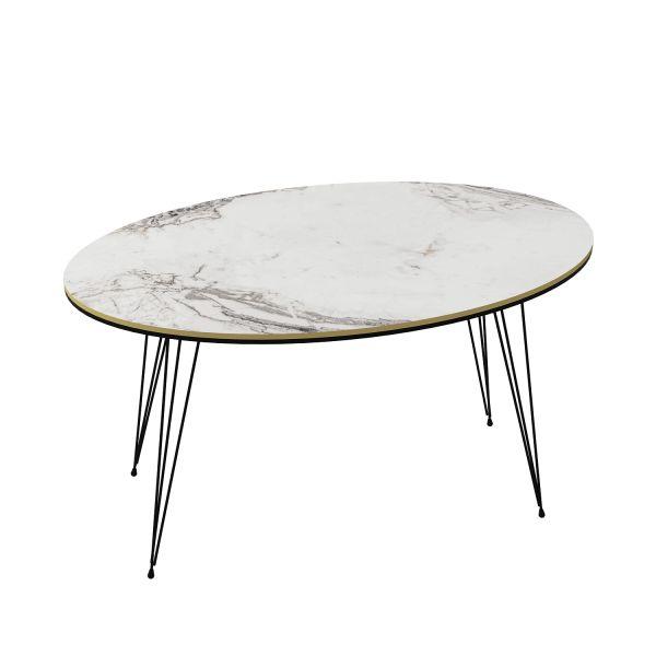 Couchtisch Marmor Optik Oval Weiß 21666993
