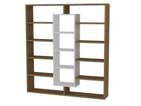 Bücherregal Ample Walnuss Weiß