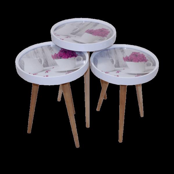 Beistelltisch Kaffe Set 3 er Set 3D mit Glas Rund Weiß