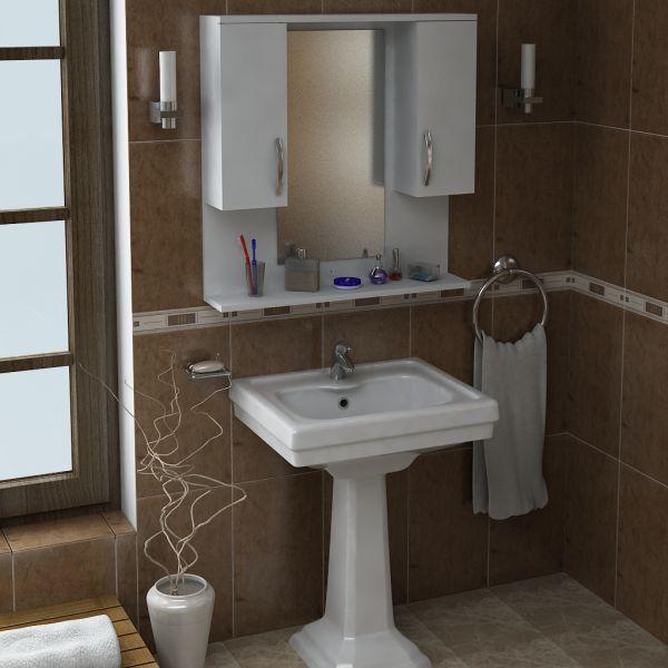 Badschrank Hängeschrank mit Spiegel Tiger Weiß