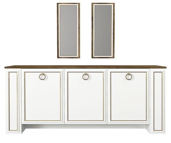 Sideboard Sansa mit 2er Spiegel Set Weiß Walnuss