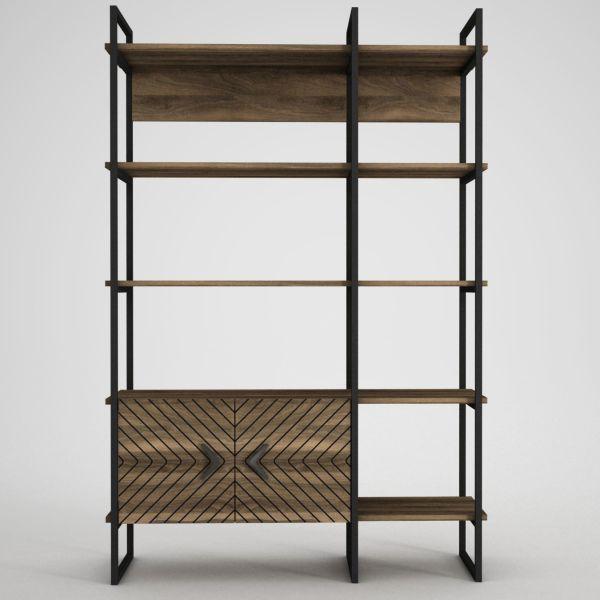 Bücherregal Santana mit Metallfüße und Rahmen Wallnuss