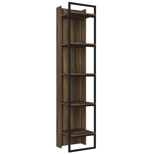 Bücherregal Kelvin mit Metallfüße und Rahmen Walnuss
